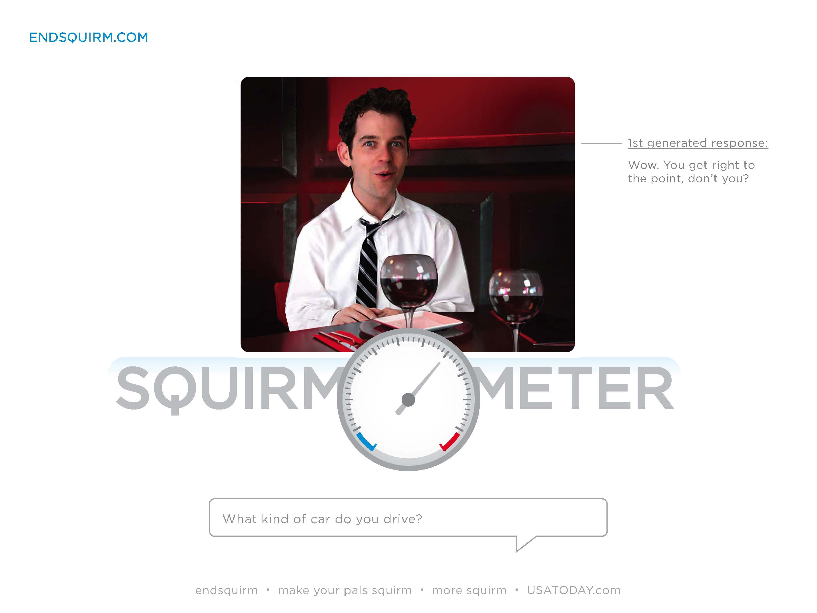 Based on your answers, the squirmometer moves and auto-generated responses via the character are given.