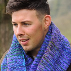 Hand woven scarf walk at argenteuil wild lupin
