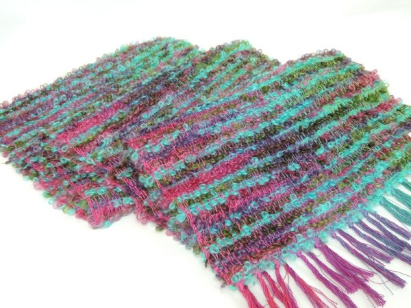 Hand woven scarf agapanthus moonflower