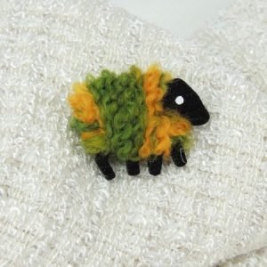 LizzyC|Sheep|Brooch|Green_and_Gold