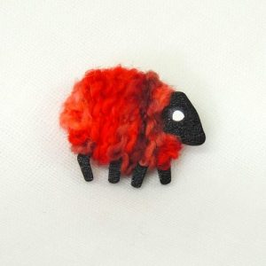 poppy|red|sheep|brooch|front\View
