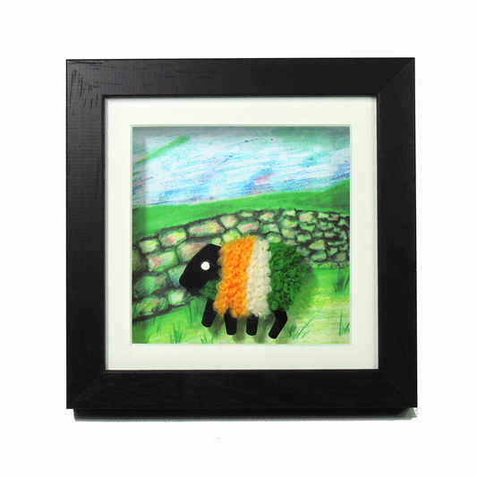 framed-lizzyc-stonewall-tricolour-sheep-6inch