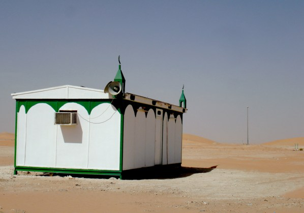 Portable mosque in the middle of nowhere.