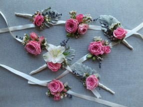 Boutonnieres, Corsages, Pink Bridal Flowers,