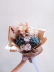 Everlasting and Preserved Dried Bouquet in Blue and Lilac pink