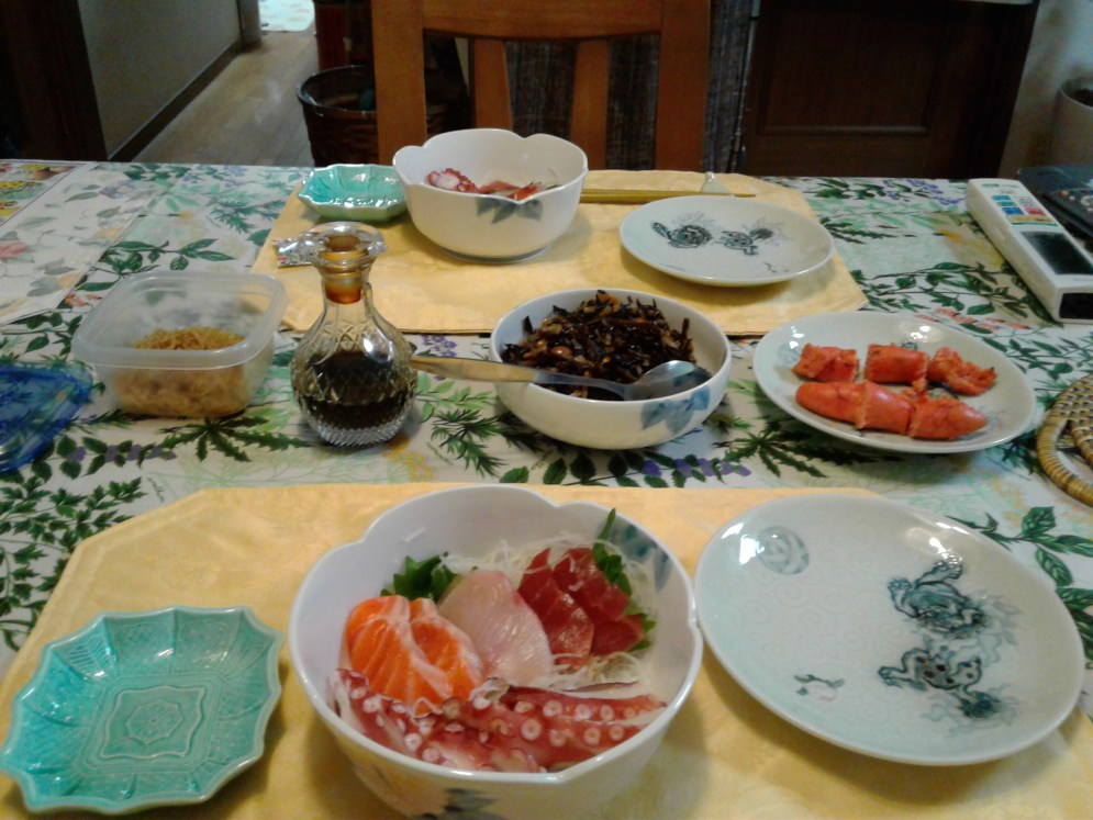 Sashimi tonight with a lot of tako and hijiki :)