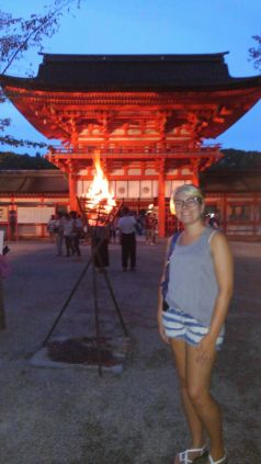 Me + one of le flaming torches all around the jinja