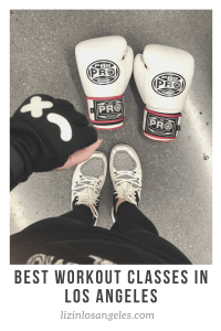 Best Workout Classes in Los Angeles, a blog post by Liz in Los Angeles, Los Angele Lifestyle Blogger: an image of a Pinterest graphic of boxing gloves and sneakers