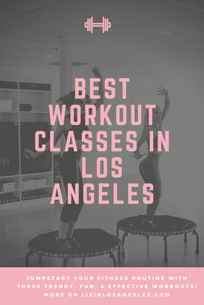 Best Workout Classes in Los Angeles, a blog post by Liz in Los Angeles, Los Angele Lifestyle Blogger: an image of a Pinterest graphic of women on trampolines