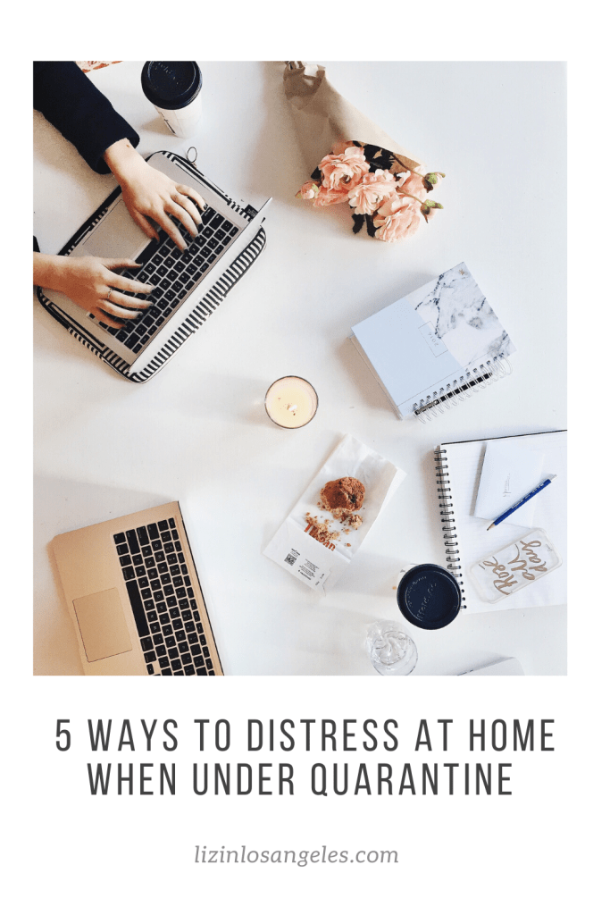 5 Ways to Destress at Home When Under Quarantine, a blog post by Liz in Los Angeles, Los Angeles Lifestyle Blogger, an image of coffee by a laptop