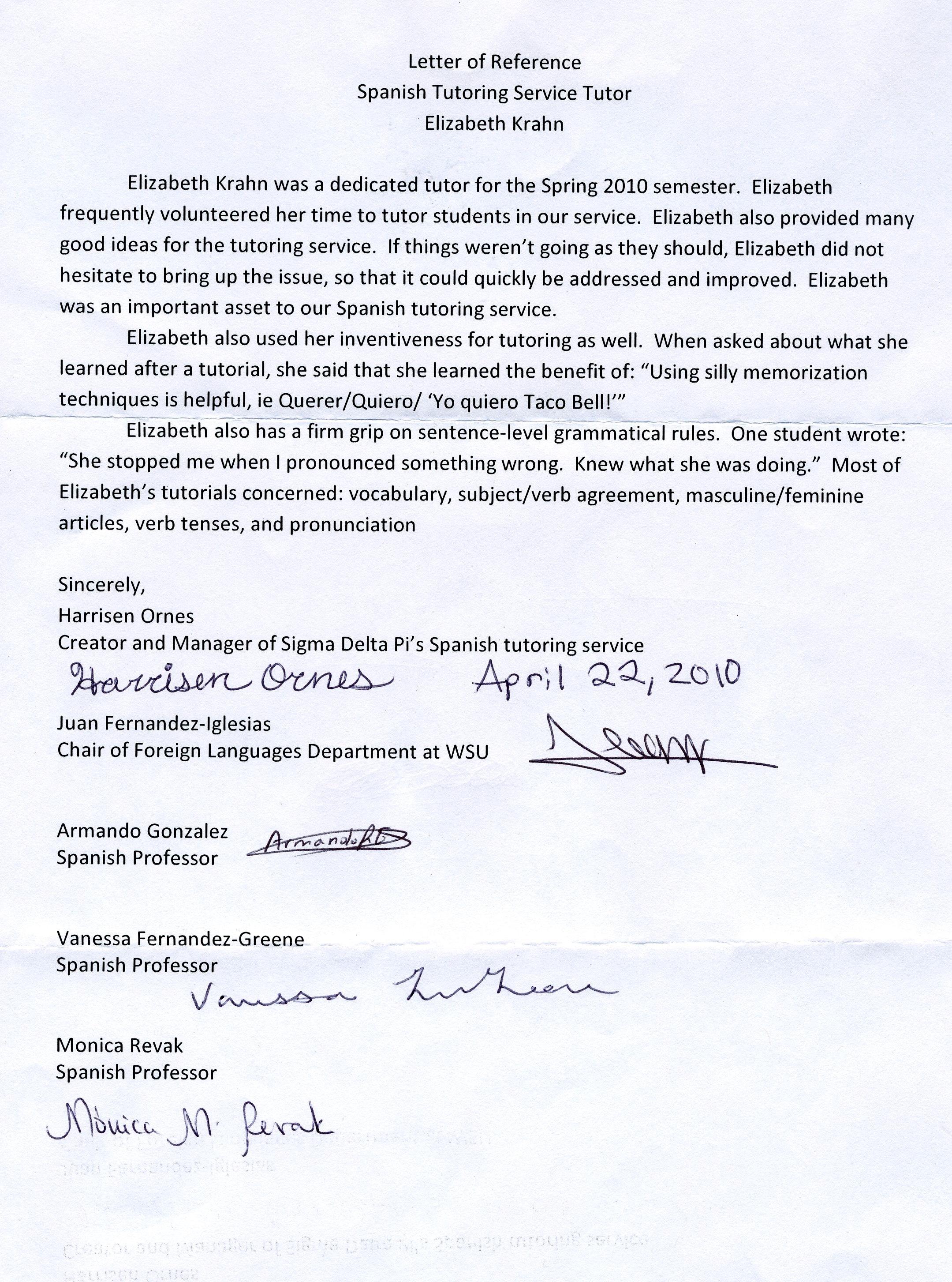 Spanish Tutoring Reference Letter Lizk2090's Blog