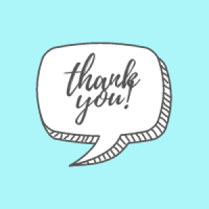 """Thank you!"" text bubble - Always express gratitude!"