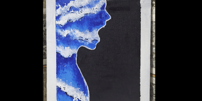 Human face and bust silhouette made of waves depicting a person screaming into a black background.