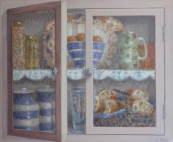 Beige trompe l'œil cupboard. Oil on canvas. 40x50