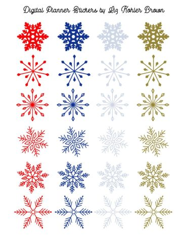 Free Snowflake Digital Planner Sticker Set – Liz Kohler Brown