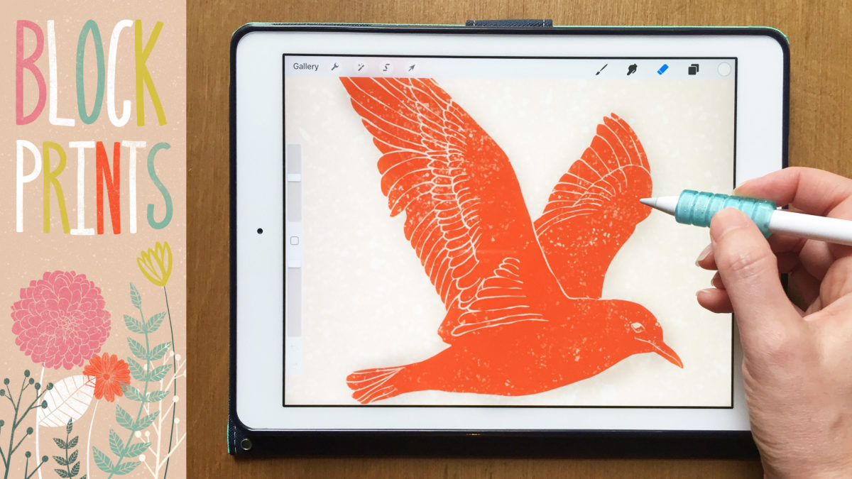 Block Print Style Illustrations on Your iPad + Free Block Print Stamps and Textures for Procreate
