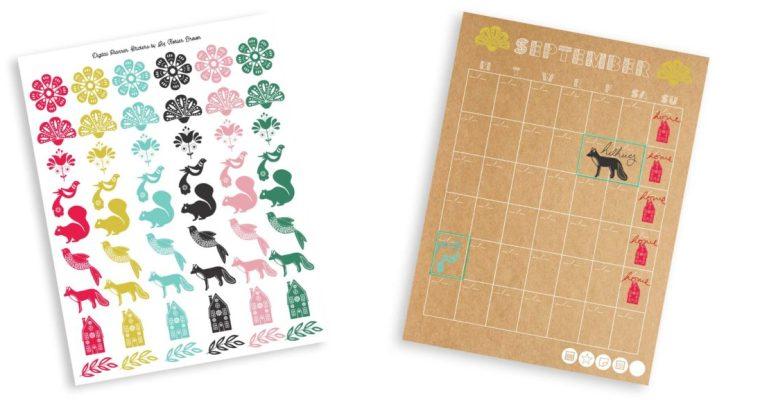 Modern Folk Art Digital Planner Stickers – Free Download!