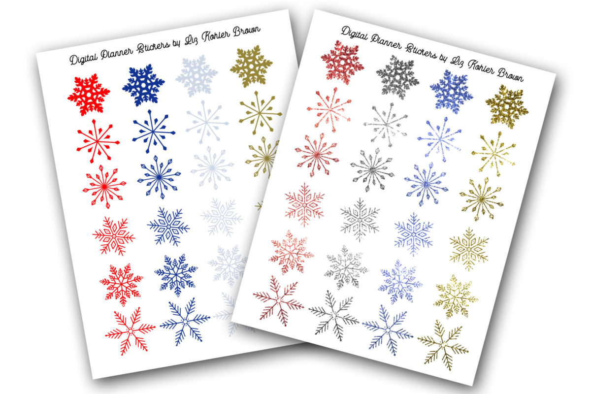 Free Snowflake Digital Planner Sticker Set
