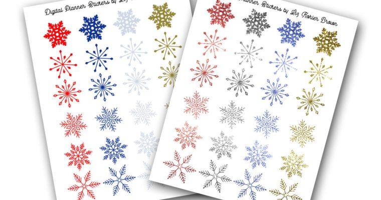 Free Snowflake Digital Planner Sticker Set
