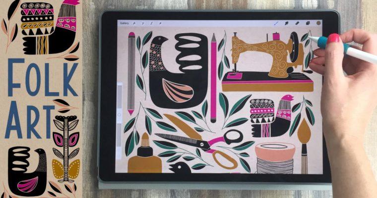 Folk Art Style Illustration on Your iPad in Procreate