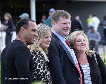 Florida Horse Editor Brock Sheridan with wife Suzanne & Contributing Editor & Sales Tammy Gantt with fiance Jesus attend Calder Million Day Event