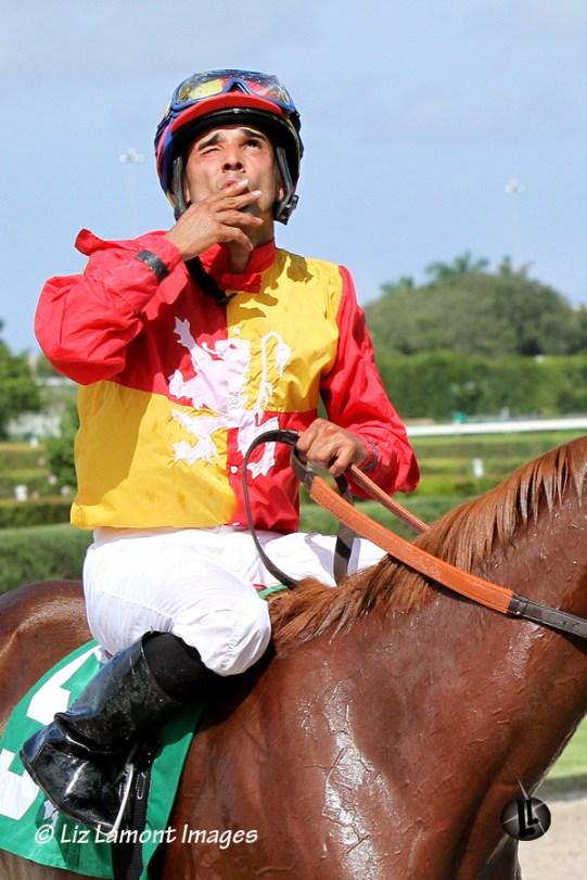 Jockey Jesus Rios thanks God for his win
