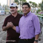 Frankie Pancho Perez with Alfonso Alvarado after Itsmyluckyday (KY) wins the Holy Bull Stakes GIII at Gulfstream Park