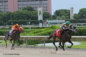 My Brown Eyed Guy (FL) with jockey Eduardo Nunez on board heads to the finish line with #10 Copa Del Rey placing behind him
