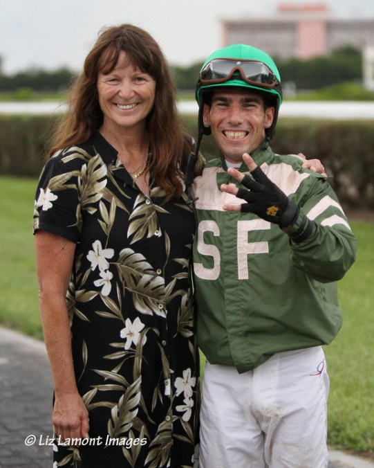 Jockey Antonio Gallardo with trainer Kathleen O'Connell after his 4th stakes win on Juvenile Showcase day at Calder Race Course IMG_5021