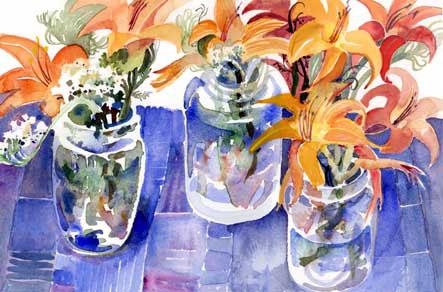 Lilies on Blue Cloth | watercolor | copyright Liz Macklin 2009
