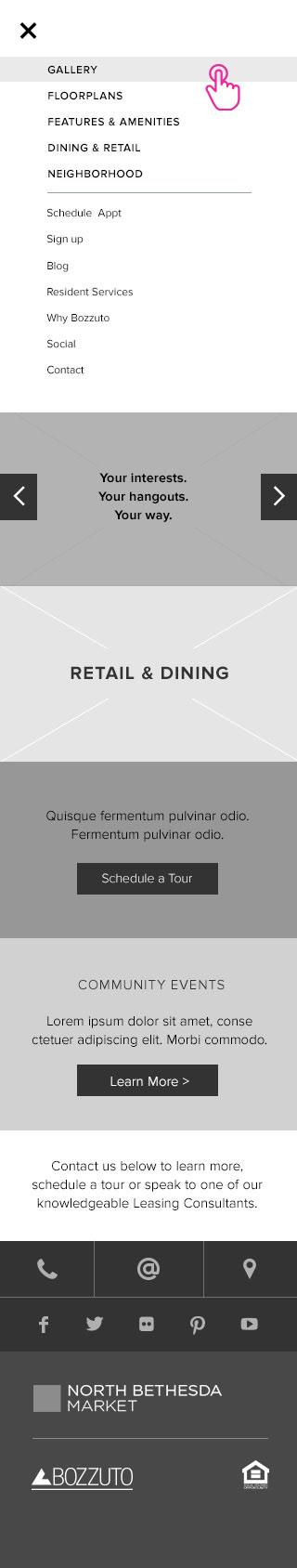 Homepage Mobile Wireframes —  Open Menu