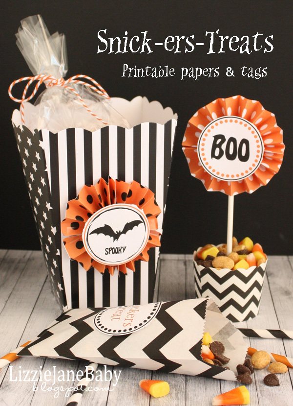 Snick-er-Treat cones with printable tags #Halloween - Liz on Call