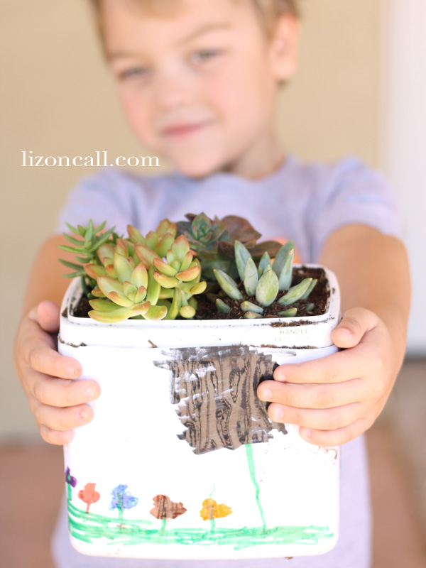 recycle plastic containers into a succulent garden - kid project idea #kidcraft #recycle #succulent