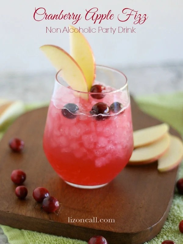 titled image and shown cranberry apple fizz non alcoholic party drink - Christmas Punch Recipes With Alcohol