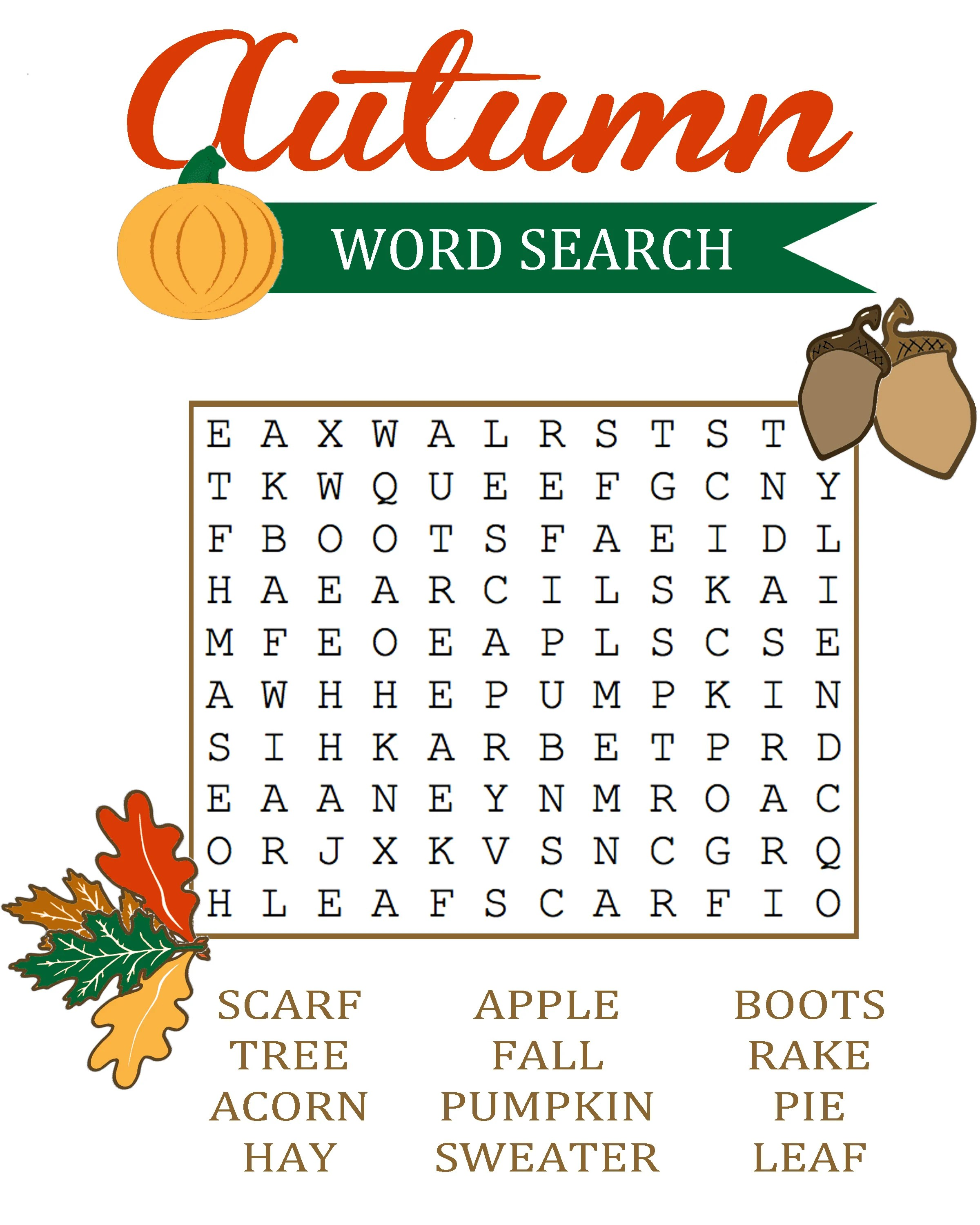 Autumn Word Search For Kids