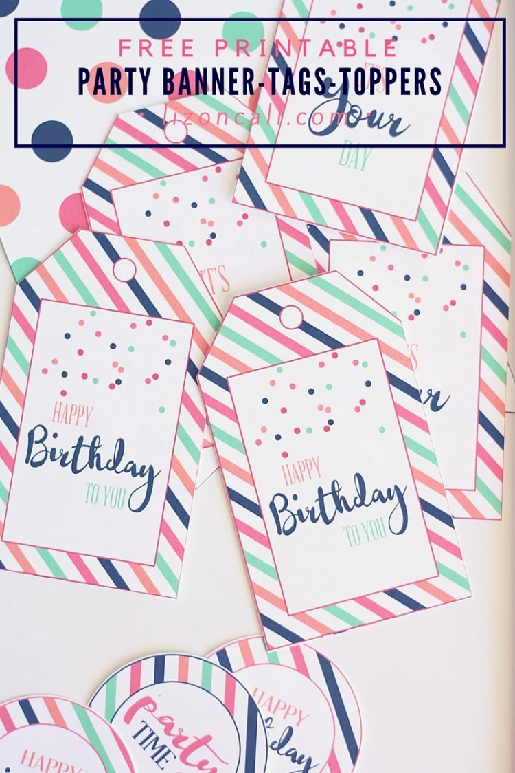 Make putting together a party easy with these free printable party banner, tags and toppers.