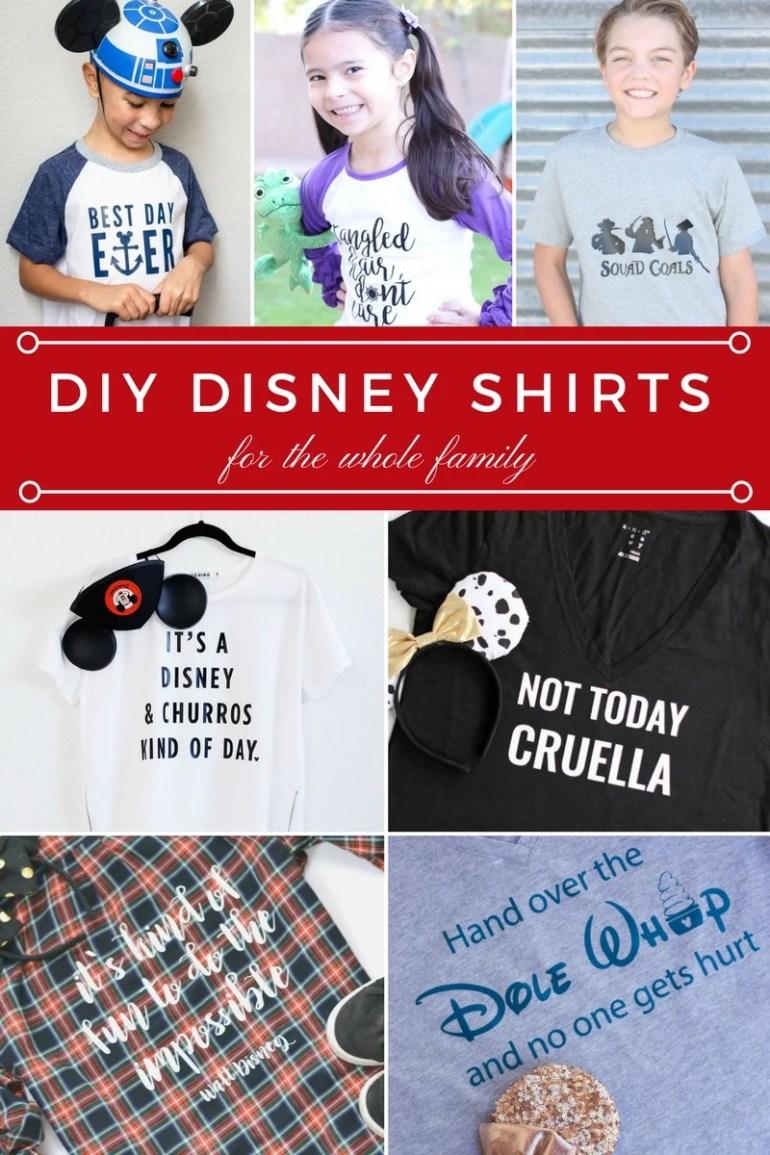 DIY Disney Shirts for the whole family. So many fun Disney shirt ideas.