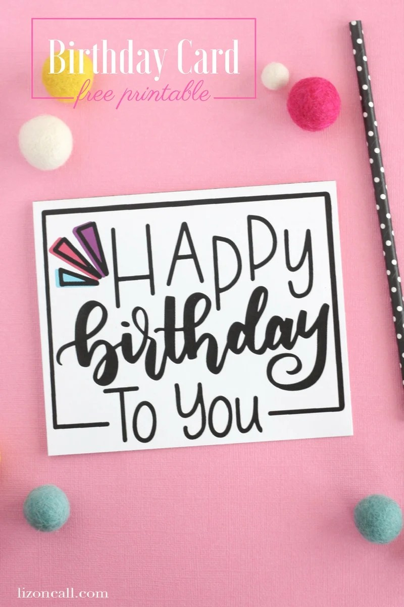 Hand Lettered Free Printable Birthday Card