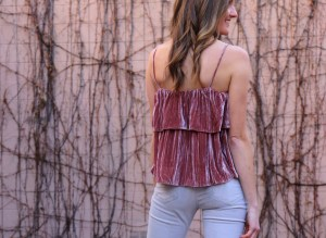 valentines day outfit idea velvet tank