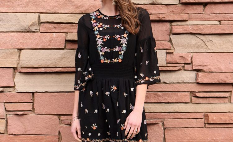 athropologie black embroidered dress Mauve for spring
