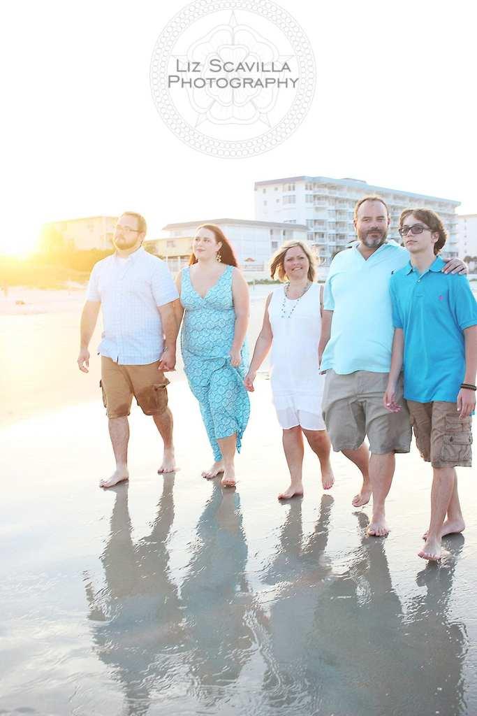 Family Walking the Beach