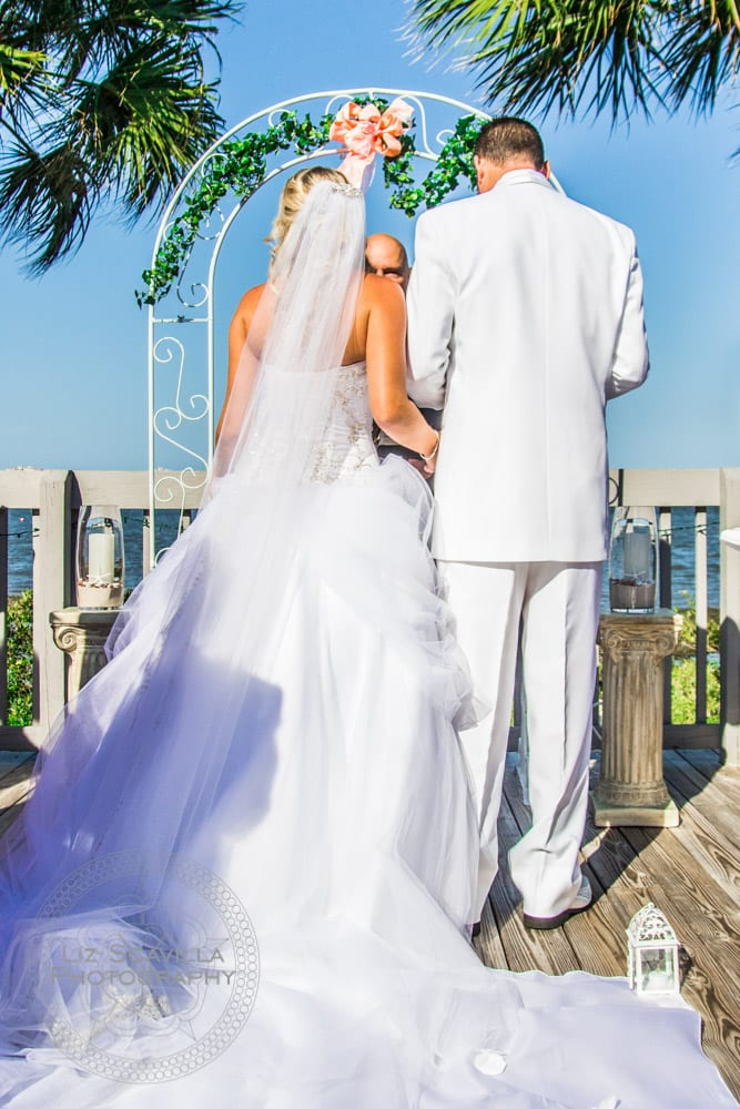 Bride & Groom at Altar with Palm Trees
