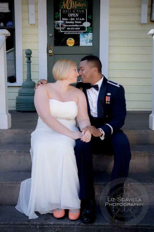 Military Couple on Steps