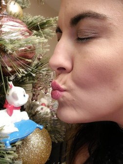 Woman and cat boss babe kissing cat ornament