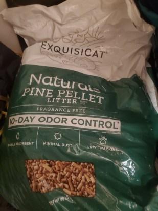Bag of pine pellet cat litter.
