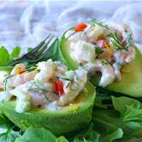 Shrimp Salad-Stuffed Avocados for #TheSaladBar