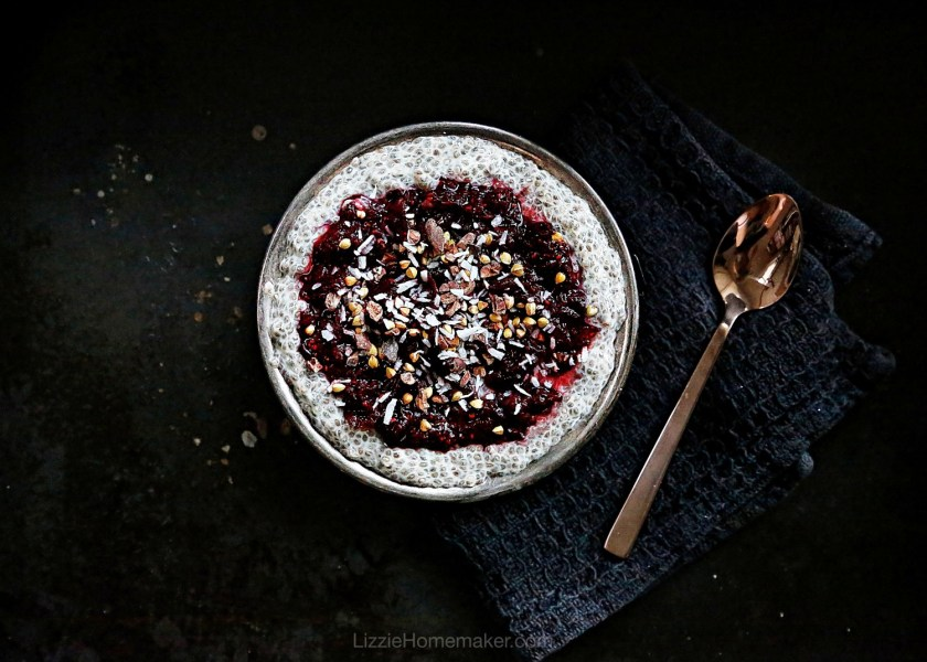 Lizzie Homemaker healthy breakfast chia pudding with cherry chia jam