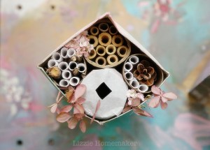 Lizzie Homemaker diy bee house recycled juice container