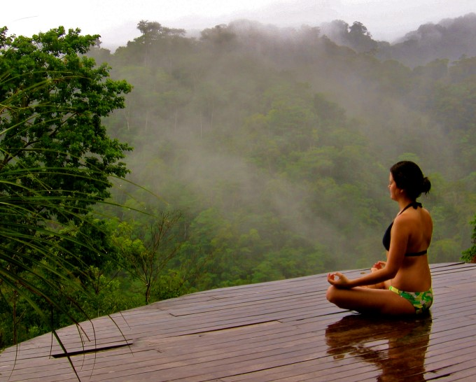 Yoga in Costa Rica overlooking cloud forest