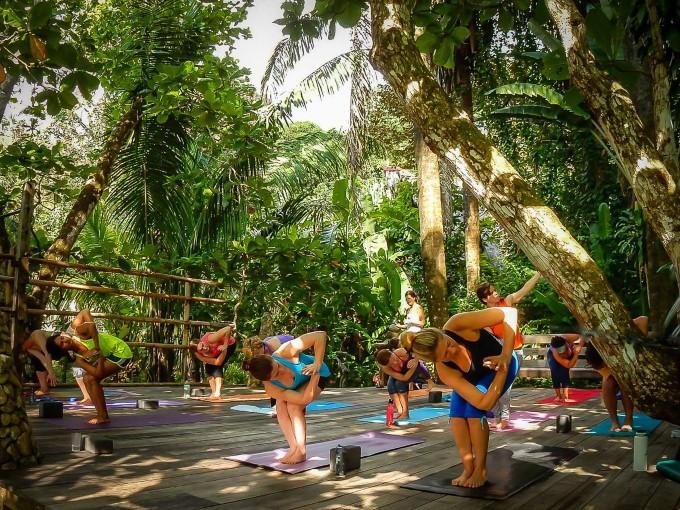 doing Yoga in a Costa Rica jungle setting